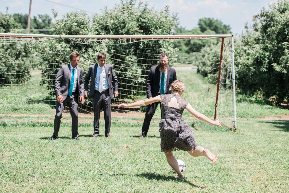 soccer on wedding day