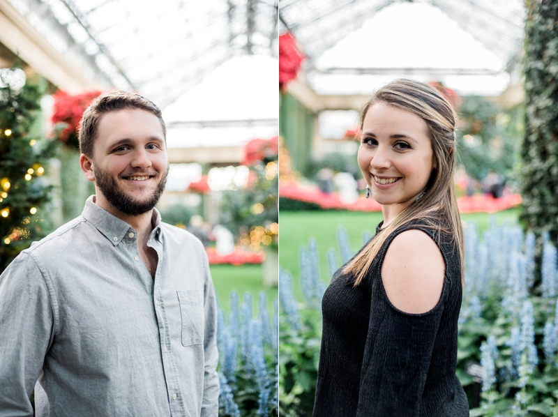 Longwood Gardens Christmas Engagement