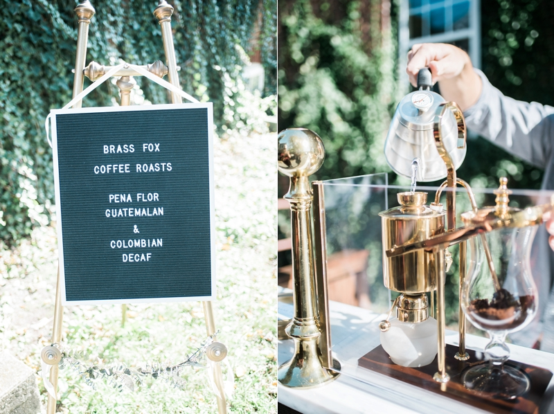 wedding coffee cart, Brass Fox Coffee