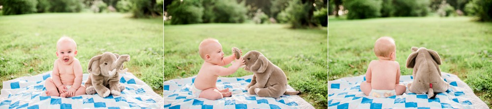 Baby and elephant